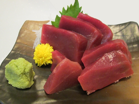 Akami — less marbled and firmer in texture, it comes from the area around the tuna's spine and tail. It used to be the most prized cut around 90 years ago ... until OTORO!