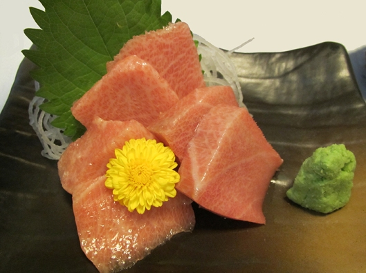 Otoro — cut from the lower belly of the tuna towards the head. Priceless!