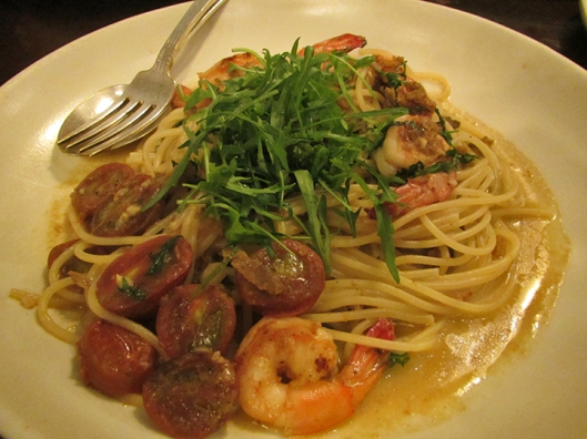 Spaghettini with Uni, Live Shrimp, Wine Tomatoes, and Rucola (Arugula)